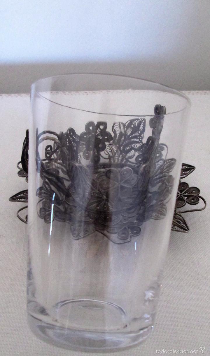 Antigüedades: Antiguo plato y base para vaso en filigrana de plata - Foto 9 - 57117501