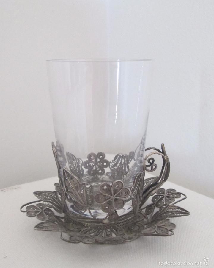 Antigüedades: Antiguo plato y base para vaso en filigrana de plata - Foto 10 - 57117501