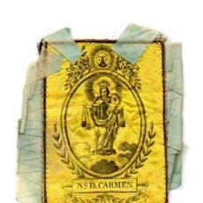 Antigüedades: ANTIGUO ESCAPULARIO NTRA, SRA, DEL CARMEN, TELA. Lote 57121078
