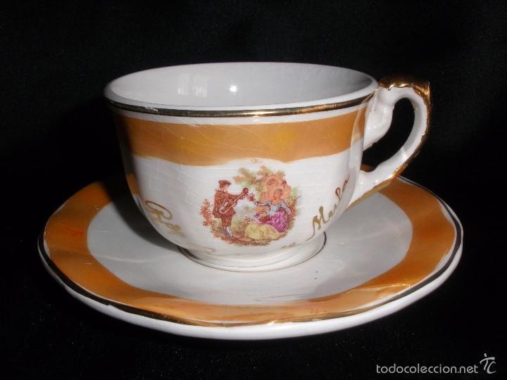 Antigüedades: Juego de taza de café en porcelana de reflejos nacarada Pickman de Recuerdo Baños de Mula - Foto 6 - 57123185