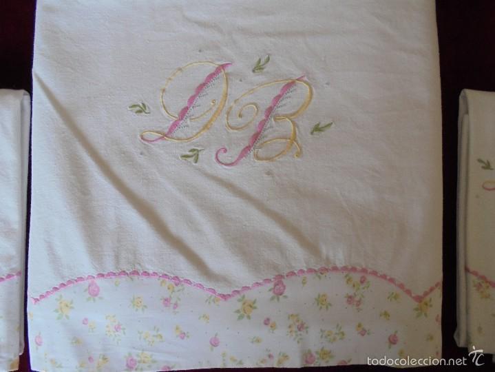 Antigüedades: Sábana de matrimonio con fundas ( Para cama 135) - Foto 2 - 57123910