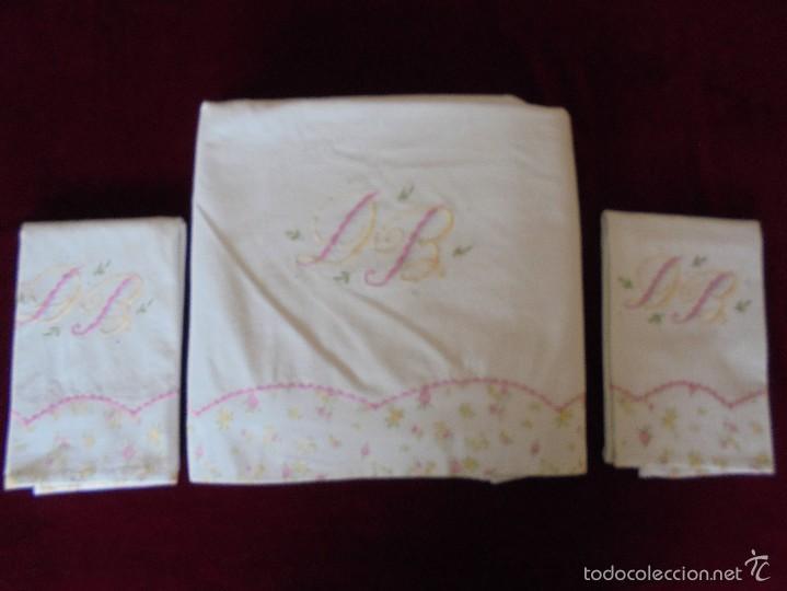 Antigüedades: Sábana de matrimonio con fundas ( Para cama 135) - Foto 3 - 57123910