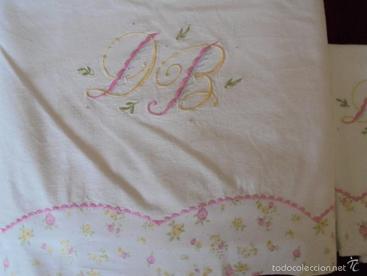 Antigüedades: Sábana de matrimonio con fundas ( Para cama 135) - Foto 5 - 57123910