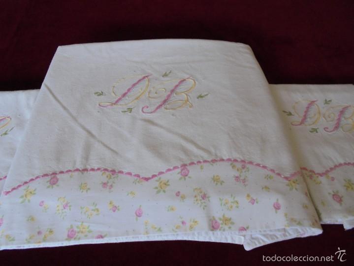 Antigüedades: Sábana de matrimonio con fundas ( Para cama 135) - Foto 6 - 57123910
