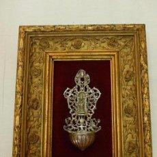 Antigüedades: BENDITERA DE PLATA, CON MARCO. SIGLO XIX / PRINCIPIOS DEL XX.. Lote 57125106