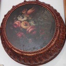 Antigüedades: LÁMPARA OLEO TABLA MARCO GIGANTE. Lote 57057301