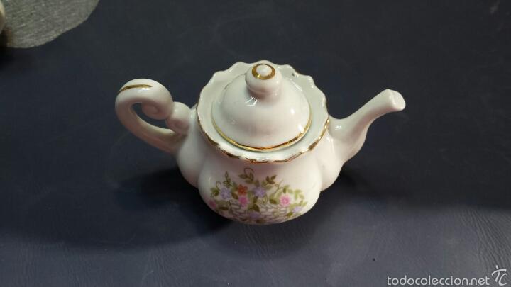 Antigüedades: Colección de 5 preciosas teteras miniatura de Porcelana - Foto 5 - 57136633