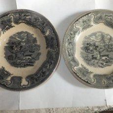 Antigüedades: 2 PLATO CETRÁMICA CARTAGENA CON CAZA DEL CIERVO Y LACEO TORO. LA AMISTAD 1845-1898. Lote 57142505