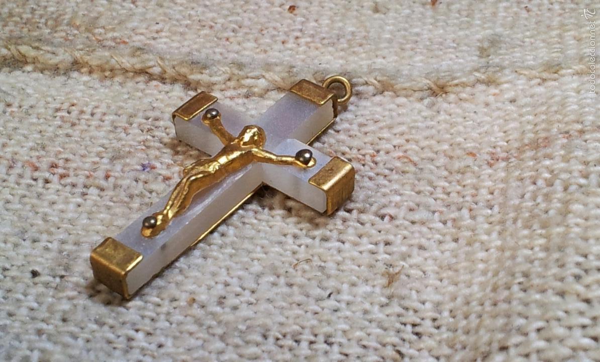 Antigüedades: crucifijo cruz santo cristo balaguer 3,3 x 2,1 cm - Foto 3 - 57142931