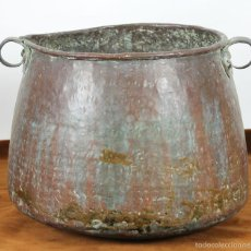 Antigüedades: OLLA DE COBRE. MANGOS EN COBRE. SIGLO XVIII-XIX. . Lote 57154241