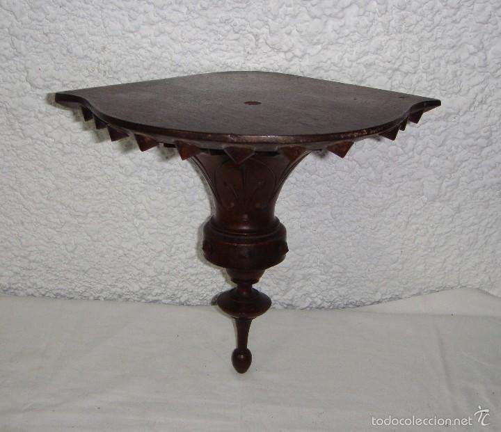 Antigüedades: Antigua Repisa Esquinera. S.XIX. Tallado en madera de - Foto 3 - 57160366