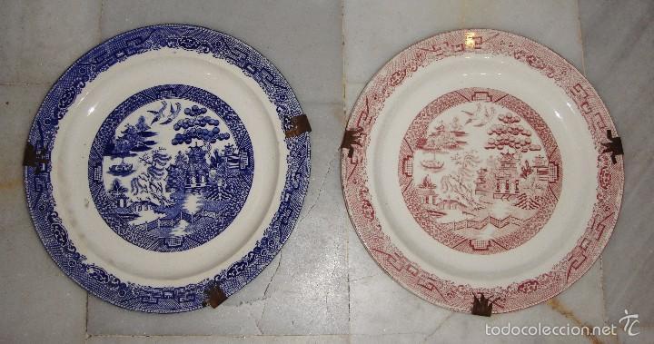 BONITA PAREJA DE PLATOS. CON MOTIVOS CHINOS. PICKMAN. CHINA OPACA. (Antigüedades - Porcelanas y Cerámicas - San Juan de Aznalfarache)