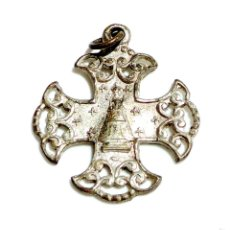 Antigüedades: CRUZ CON VIRGEN DE MONSERRAT, PATRONA DE CATALUNYA. Lote 57164283