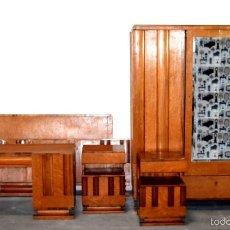 Antigüedades: DORMITORIO COMPLETO MADERA MACIZA. Lote 57187623