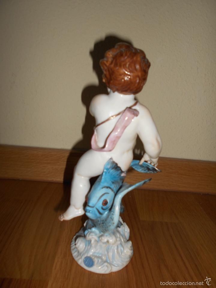 Antigüedades: Figura HOROSCOPO PISCIS DECORADA COLOR AZUL porcelana Algora certificada. Perfecta FABRICA MUY RARA - Foto 6 - 57190687