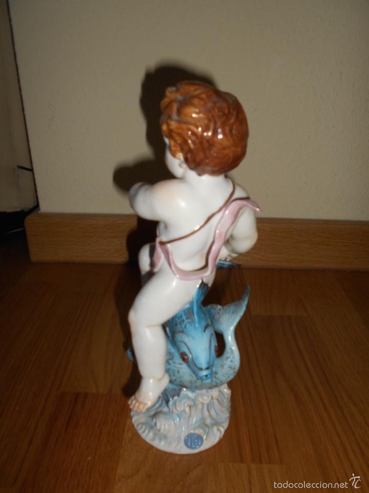 Antigüedades: Figura HOROSCOPO PISCIS DECORADA COLOR AZUL porcelana Algora certificada. Perfecta FABRICA MUY RARA - Foto 9 - 57190687