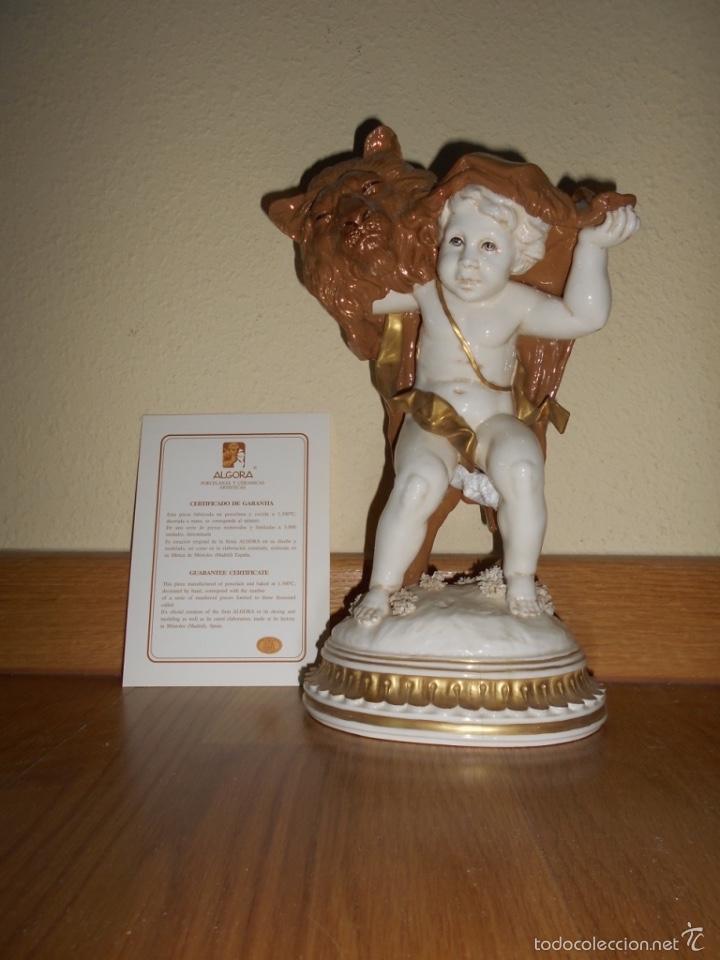 FIGURA HOROSCOPO LEO DECORADA MARRON PORCELANA DE ALGORA CERTIFICADA PERFECTA FABRICA UNICA EN T. C. (Antigüedades - Porcelanas y Cerámicas - Algora)