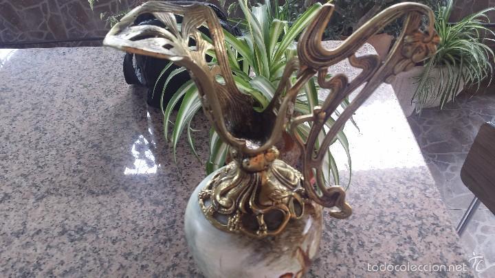 Antigüedades: antiguo jarron en porcelana y bronce - Foto 2 - 57198702
