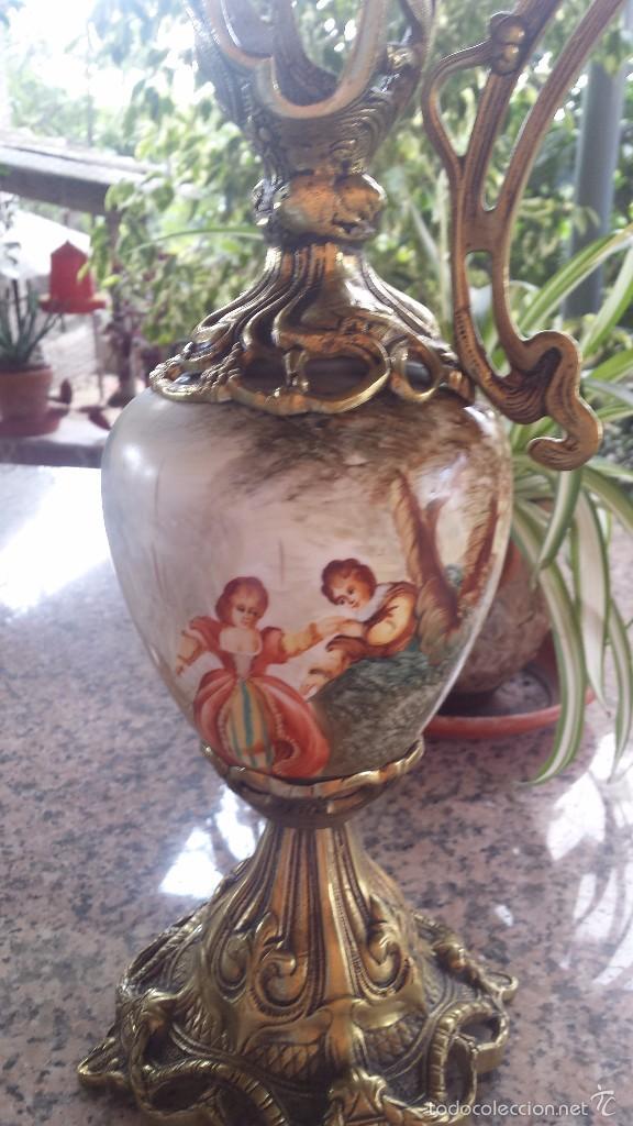 Antigüedades: antiguo jarron en porcelana y bronce - Foto 3 - 57198702