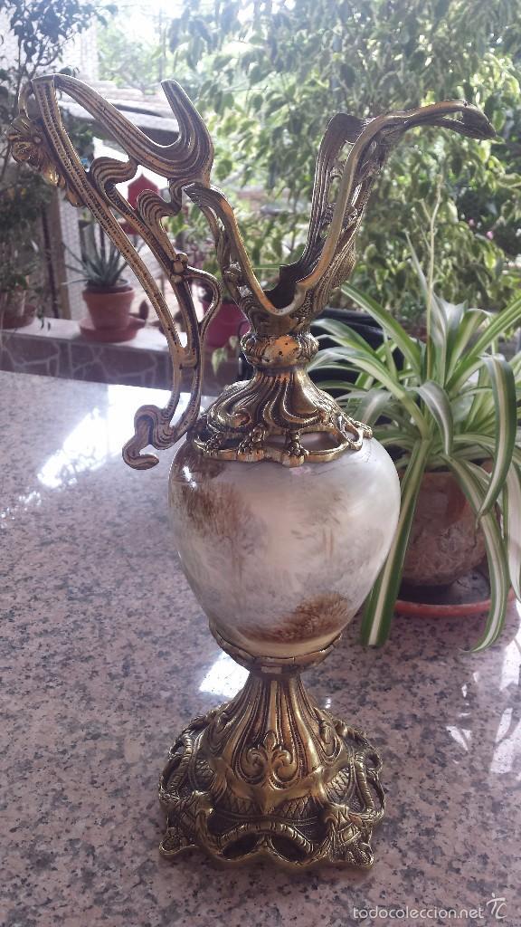 Antigüedades: antiguo jarron en porcelana y bronce - Foto 6 - 57198702