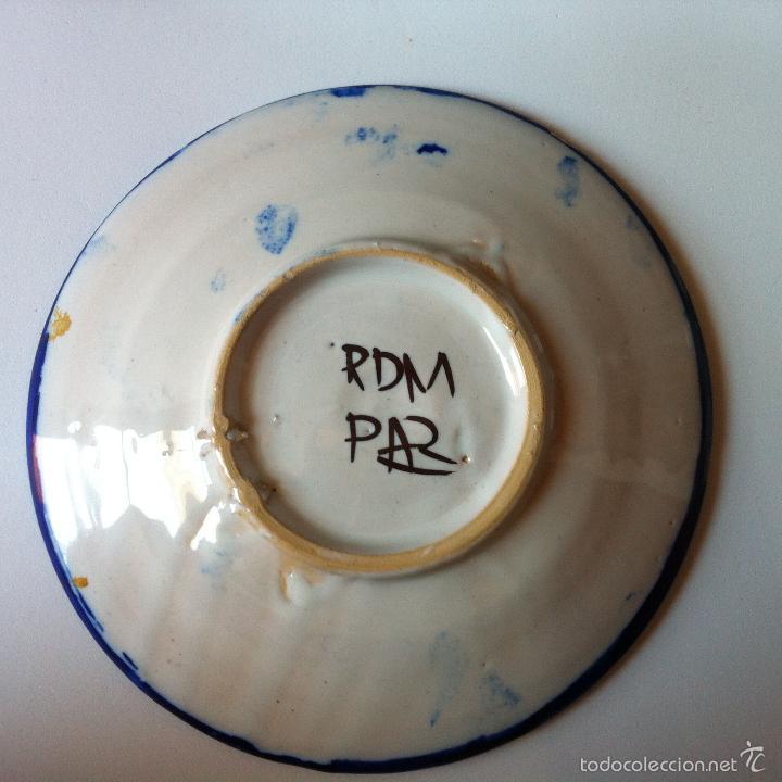 Antigüedades: Plato de cerámica de Talavera / Puente del Arzobispo, sellado RDM PAR, Pequeño, 15 cm - Foto 2 - 57207558