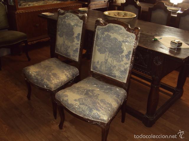 Conjunto de 4 sillas isabelinas y 2 sillones re comprar - Sillas antiguas restauradas ...