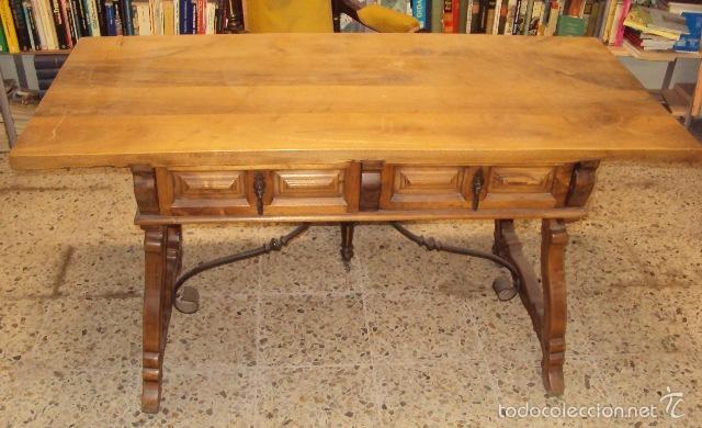 Antigüedades: mesa de despacho en nogal pata lira - Foto 3 - 57225071