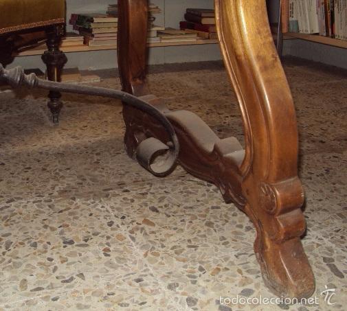 Antigüedades: mesa de despacho en nogal pata lira - Foto 7 - 57225071