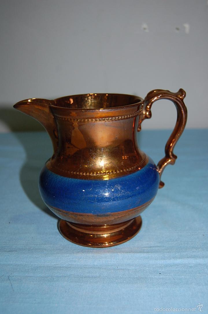 JARRA REFLEJOS EN PORCELANA BRISTOL DE 14 CM ALTURA (Antigüedades - Porcelanas y Cerámicas - Inglesa, Bristol y Otros)