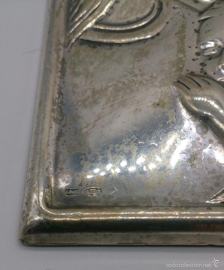 Antigüedades: Imagen de la Virgen María y el niño en plata de ley laminada y contrastada . - Foto 6 - 57240084