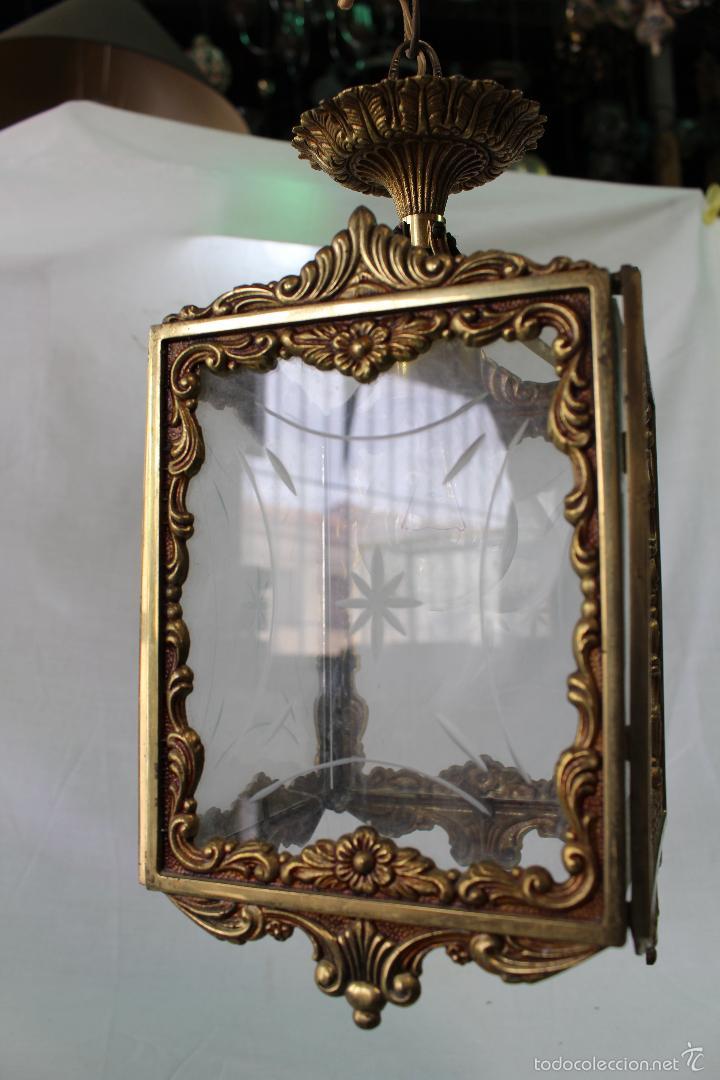 Antigüedades: lampara de techo en bronce - Foto 2 - 57243502