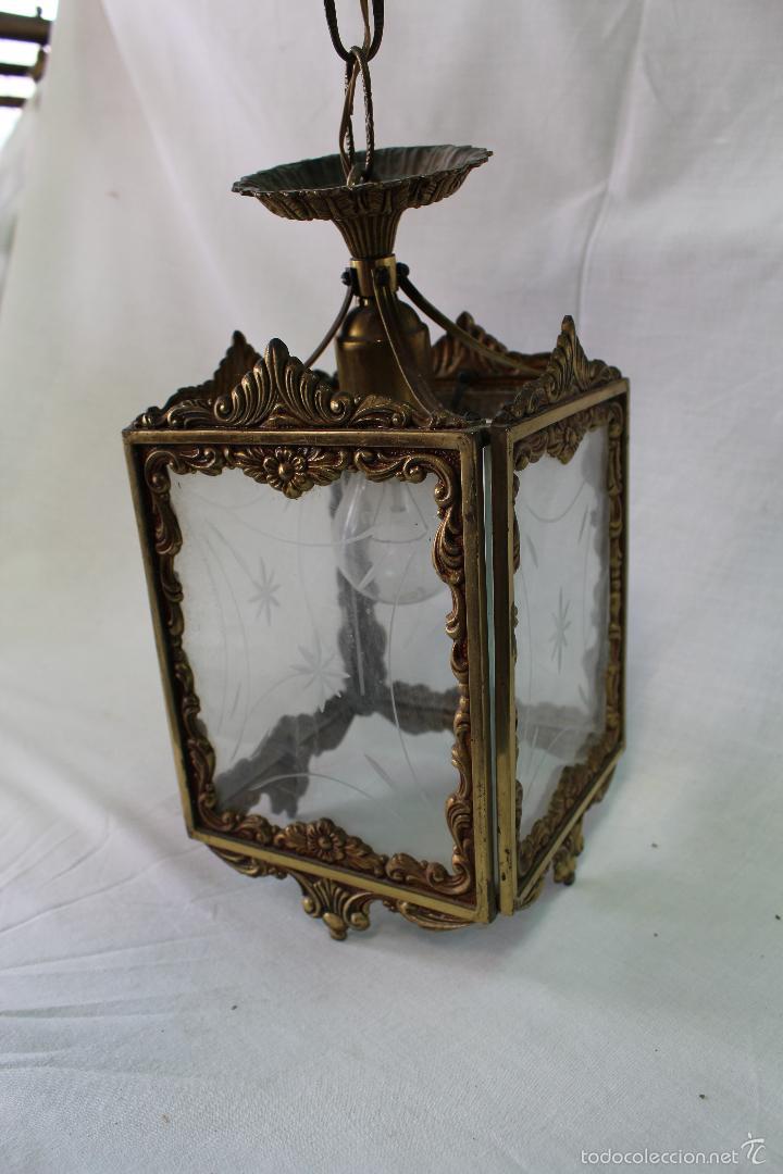 Antigüedades: lampara de techo en bronce - Foto 3 - 57243502