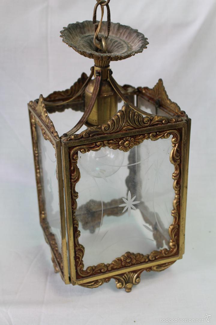 Antigüedades: lampara de techo en bronce - Foto 4 - 57243502