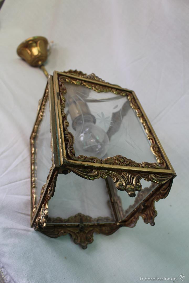 Antigüedades: lampara de techo en bronce - Foto 6 - 57243502