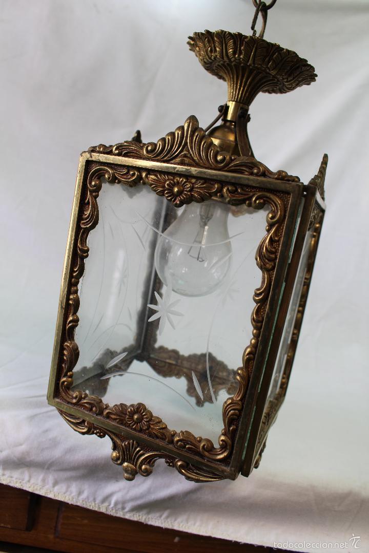 Antigüedades: lampara de techo en bronce - Foto 8 - 57243502