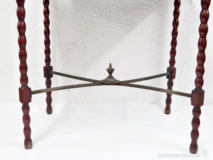 Antigüedades: Preciosa Mesa auxiliar , caoba, cristal y bronce , Unica. - Foto 2 - 57243634
