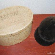 Antigüedades: CASCO DE EQUITACIÓN EN SOMBRERERA ORIGINAL - SOMBRERO HÍPICA - GAGEAN - CHAPELARIA DA MODA - LISBOA. Lote 57252900