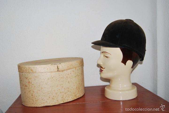Antigüedades: CASCO DE EQUITACIÓN EN SOMBRERERA ORIGINAL - SOMBRERO HÍPICA - GAGEAN - CHAPELARIA DA MODA - LISBOA - Foto 7 - 57252900