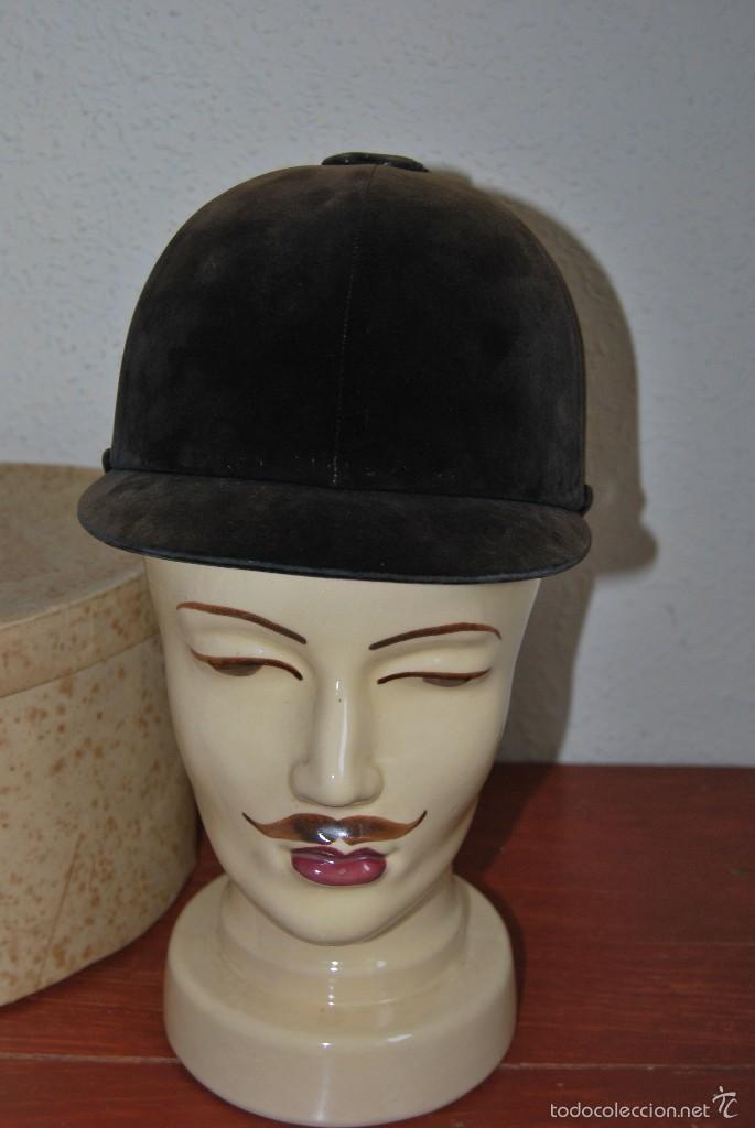 Antigüedades: CASCO DE EQUITACIÓN EN SOMBRERERA ORIGINAL - SOMBRERO HÍPICA - GAGEAN - CHAPELARIA DA MODA - LISBOA - Foto 11 - 57252900