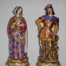 Antigüedades - Magnifica Pareja de Figuras de Porcelana. Finales del XVIII. Viejo París. Con dorados. - 57259890