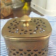 Antigüedades: CAJA DE METAL PERFORADA. Lote 57209784