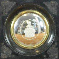 Antigüedades: CRISTAL GRABADO AL MERCURIO. MARCO EN RESINA. PRINCIPIOS SIGLO XX.. Lote 57257516