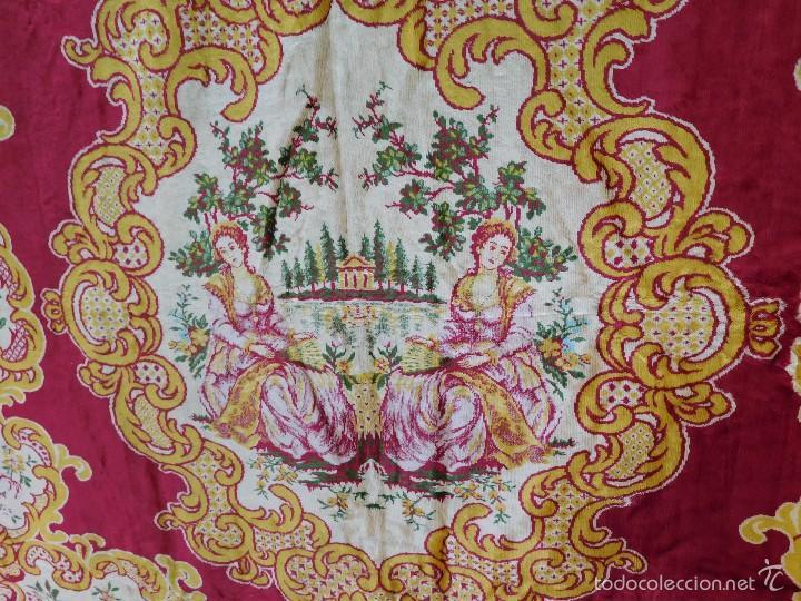 Antigüedades: Preciosa composición textil con cara de terciopelo, para usar mural, colcha o tapiz, 50 años de ant - Foto 2 - 57279545