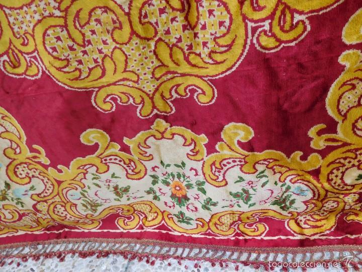Antigüedades: Preciosa composición textil con cara de terciopelo, para usar mural, colcha o tapiz, 50 años de ant - Foto 4 - 57279545