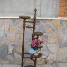 Antigüedades: ANTIGUO MACETERO TRIPLE EN MADERA TORNEADA.. Lote 57290443