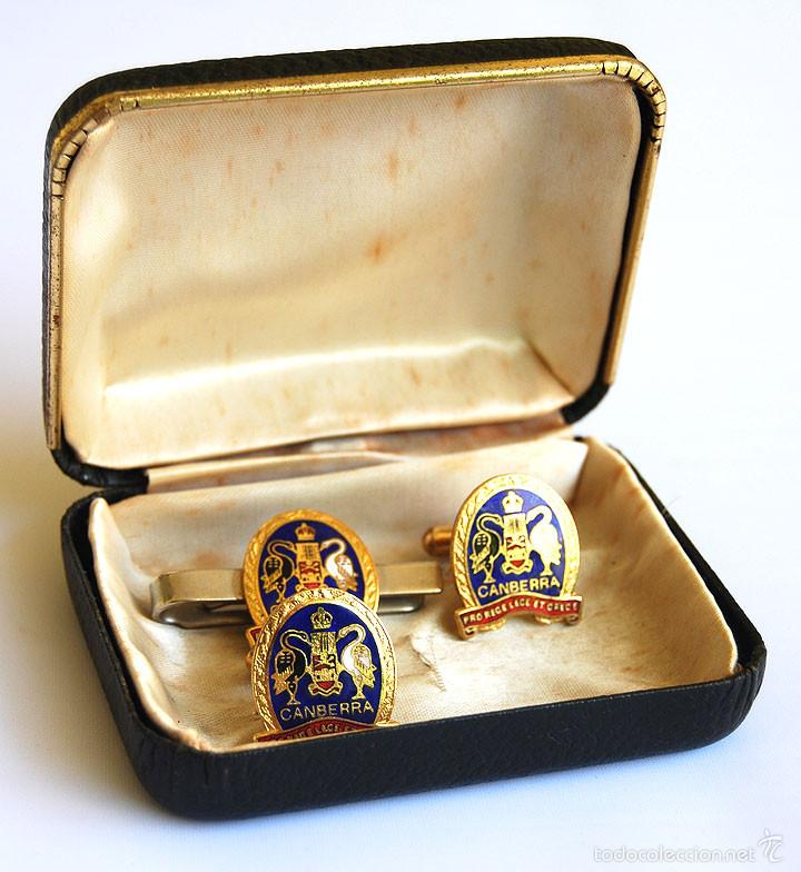 Antigüedades: Juego de gemelos y pisacorbatas Canberra con estuche - Foto 4 - 57293928