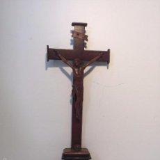 Antigüedades: PRECIOSA CRUZ DE MESA O ALTAR, CRISTO DE TALLA MADERA, SIGLO XIX.. Lote 57296181