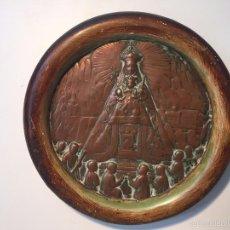 Antigüedades: PEQUEÑO CUADRO DEDICADO A LA VIRGEN DE MONTSERRAT DE COBRE ANTIGUO.. Lote 57298186