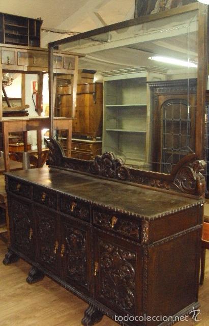 Gran trinchante con espejo tipo renacimiento comprar - Tipos de muebles antiguos ...