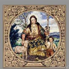 Antigüedades: AZULEJO 20X20 DE LA DIVINA PASTORA DE CANTILLANA CON GRECA.. Lote 57381372